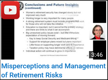Misperceptions and Management of Retirement Risks - Carol Bogosian - YouTube clip