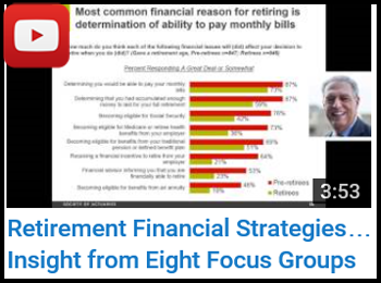 The Decision to Retire and Post-Retirement Financial Strategies: Insight from Eight Focus Groups - Mathew Greenwald and Carol Bogosian - YouTube clip