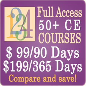 Full access to 50+ CE Courses - Compare memberships - 90 Days/$99 or 365 Days/$199