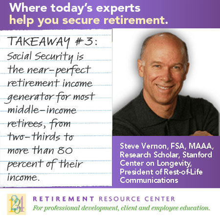 Steve Vernon - Takeaway #3: Social Security is the near-perfect retirement income generator for most middle-income retirees, representing anywhere from two-thirds to more than 80% of their income.